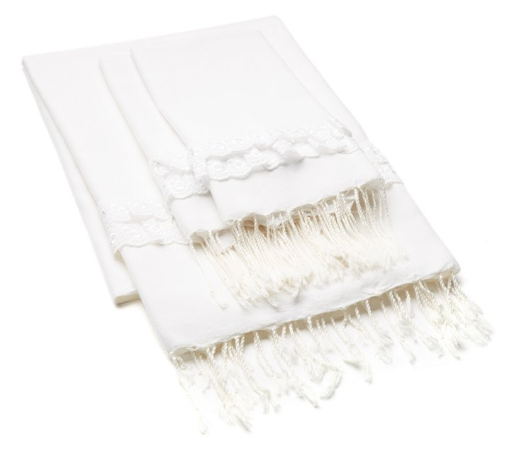 Lace Fouta & S/2 Lace Hand Towels, White