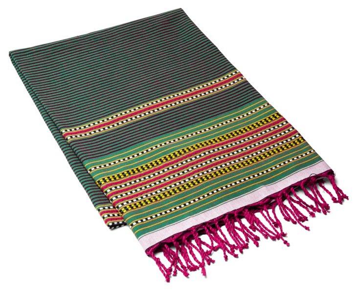 Fouta Multi Striped Towel, Emerald Green