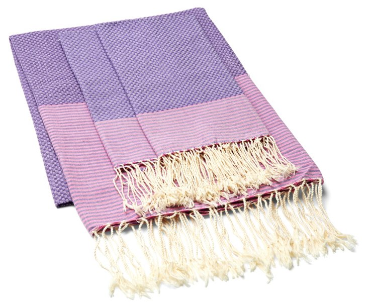 Fouta & 2 Hand Towel Thin Stripes, Mauve