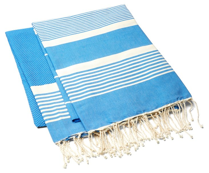 S/2 Fouta Stripe Towel, Royal Blue