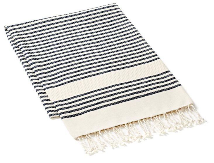 Fouta Tiny Striped Towel, Navy