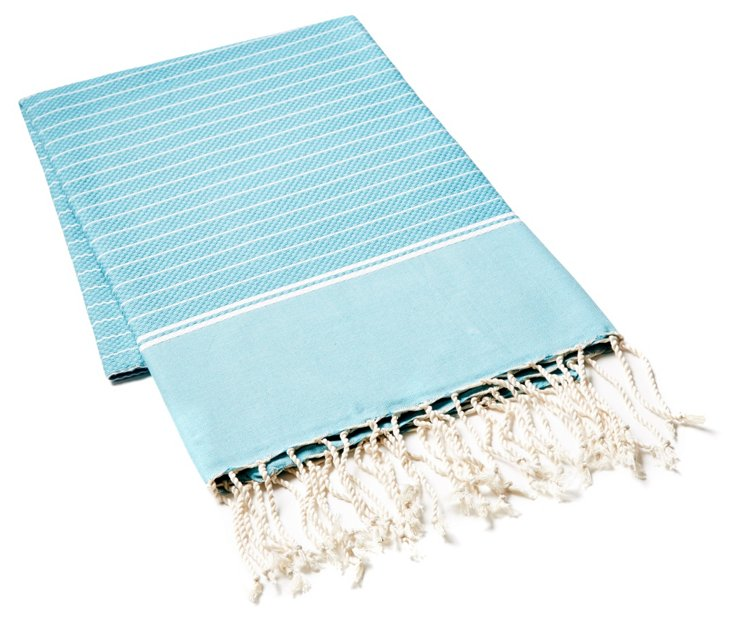 Fouta Irregular Striped Towel, Aqua