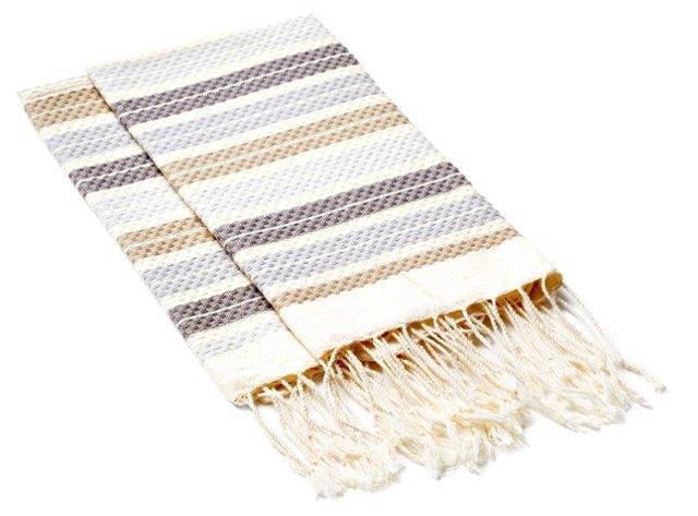 S/4 Multi Striped Hand Towels, Beige