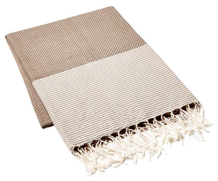 Fouta Thin Striped Towel, Brown/Beige