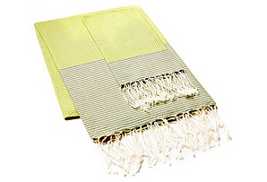 Fouta & Thin Striped Hand Towel, Green