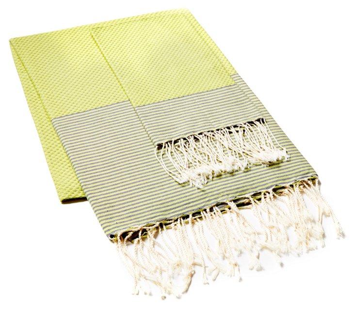 Fouta & Thin Striped Hand Towel, Green