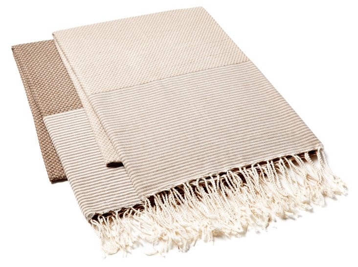 S/2 Fouta Thin Striped, Beige/Brown