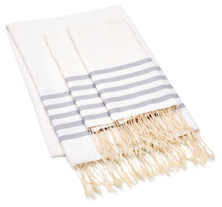 Fouta Striped & S/2 Hand Towels, Gray