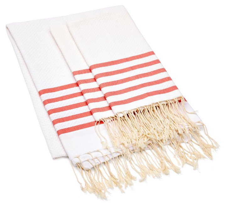 Fouta Striped & S/2 Hand Towels, Coral