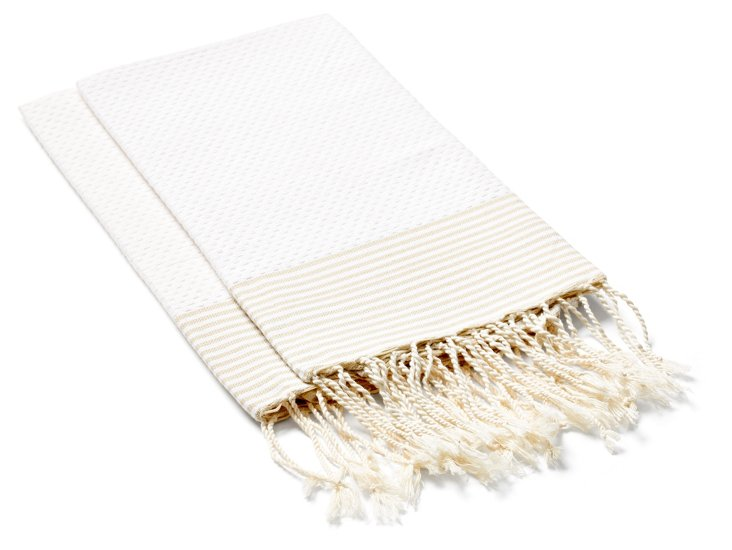 S/2 Striped Hand Towels, White/Beige