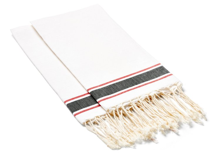 S/4 Traditional Hand Towels, White/Black