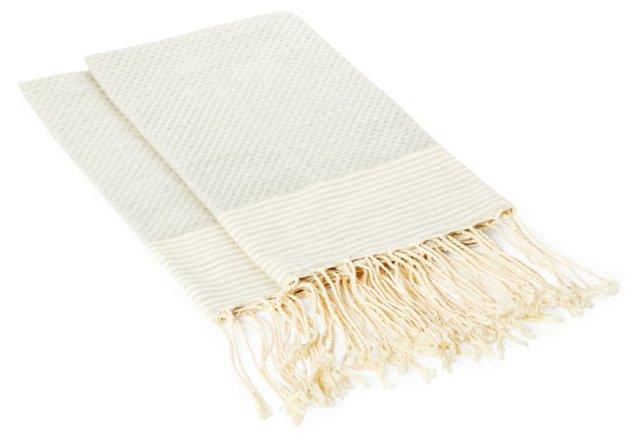 S/2 Thin Striped Towels, Gray/Cream