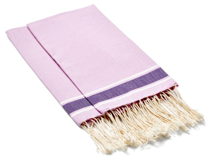 S/4 Traditional Hand Towels, Lilac