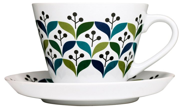 S/6 Retro Teacups & Saucers