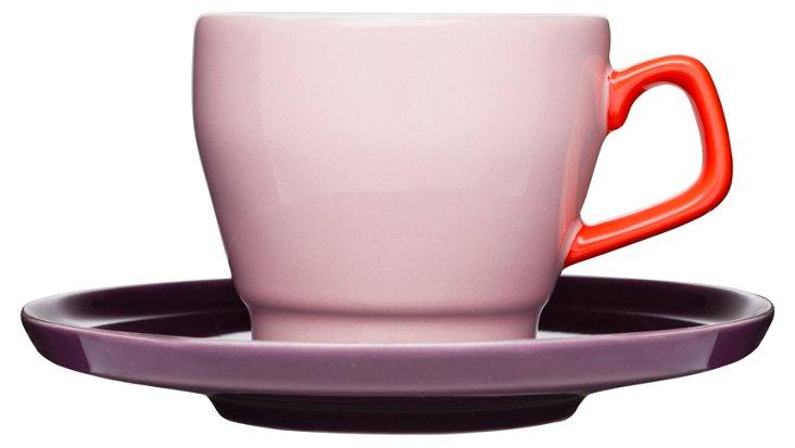 S/6 POP Coffee Cups & Saucers, Pink