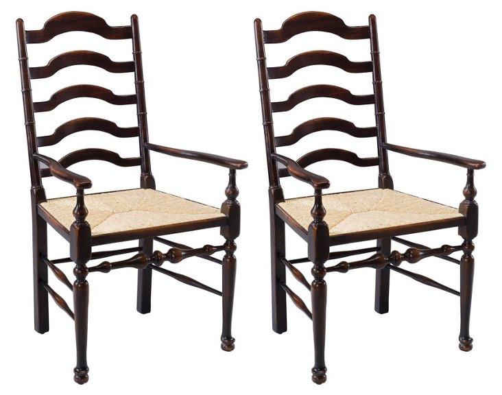 Encore Ladderback Armchairs, Pair
