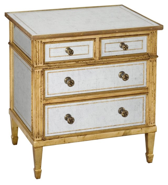 Ottavia Glass Chest, Silver/Gold