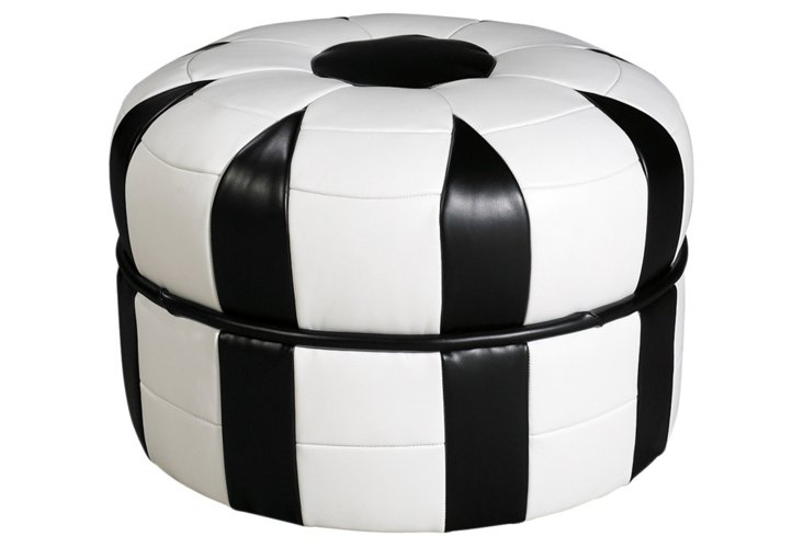 Spencer Pouf, Black/White