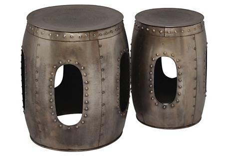Iron Drum Stools, Set of 2