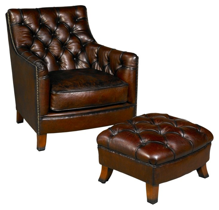 Albany Leather Chair & Ottoman, Brown