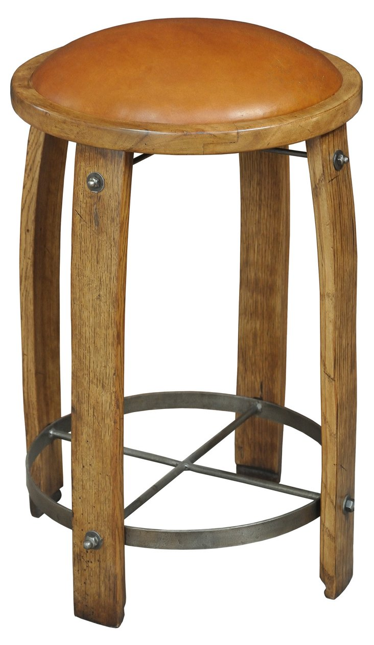 Wine Barrel Staves Leather Counter Stool