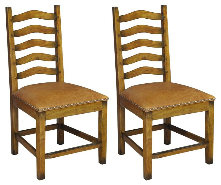 Renwick Leather Dining Chairs, Pair