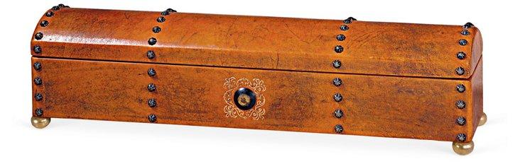 """DNU,O24"""" Telescope Leather Box w/ Tacks"""