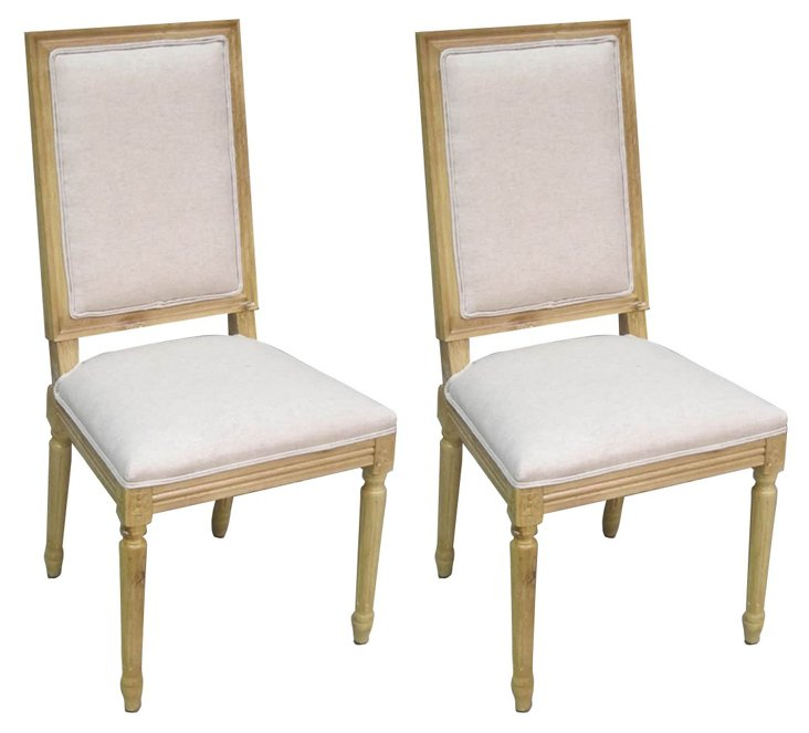 Cream Pirada Side Chairs, Pair
