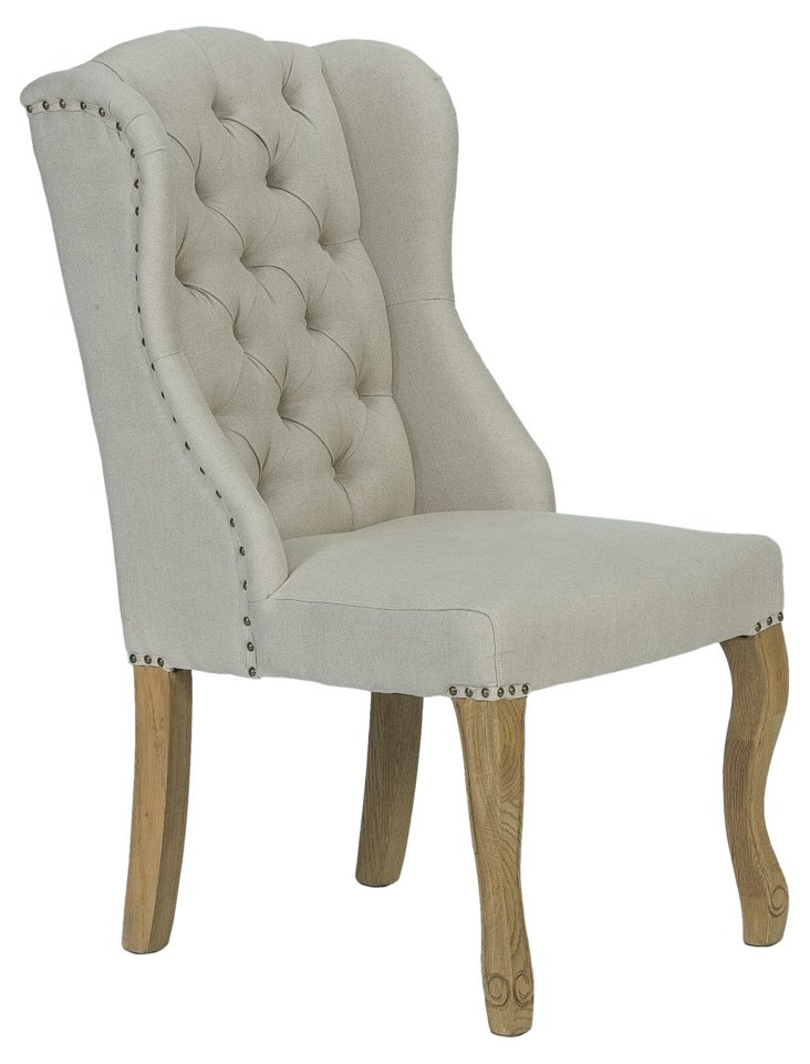 Emory Tufted Linen Side Chair, Ash Gray