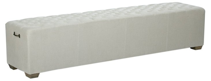 "Miriam 78"" Tufted Linen Bench, Eggshell"