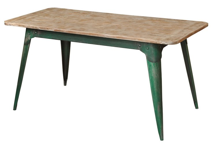 """Foster 62"""" Kitchen Table, Green/Almond"""