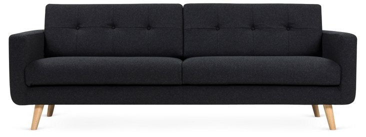"Agnes 87"" Tufted Modern Sofa, Charcoal"