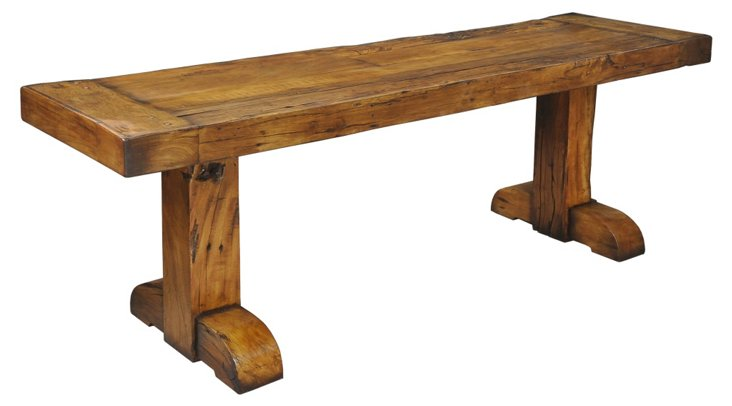 "Charles 84"" Console Table, Chestnut"
