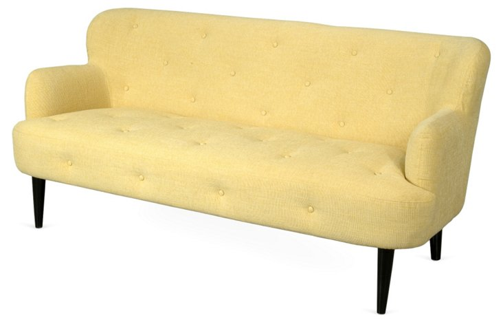 "Perry 75"" Tufted Sofa, Lemon"
