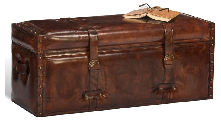 Emerson Leather Trunk, Chocolate