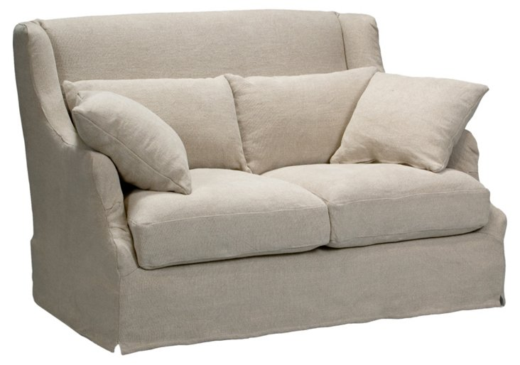"Bickford 55"" Linen Wing Sofa, Wheat"