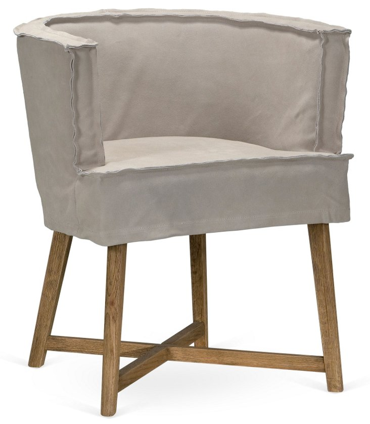 DNU,OGray Bucket Pull-Up Chair, Suede