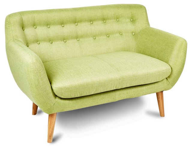 "Retro 52"" Tufted Condo Sofa, Lime"