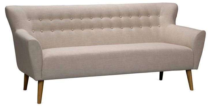 "Retro 77"" Button-Tufted Sofa, Beige"