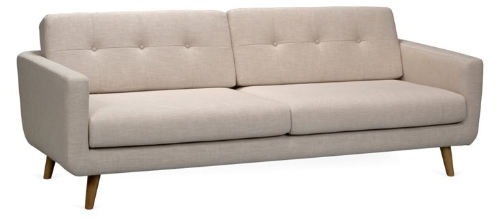 "Winner 87"" Buttoned Sofa, Light Beige"