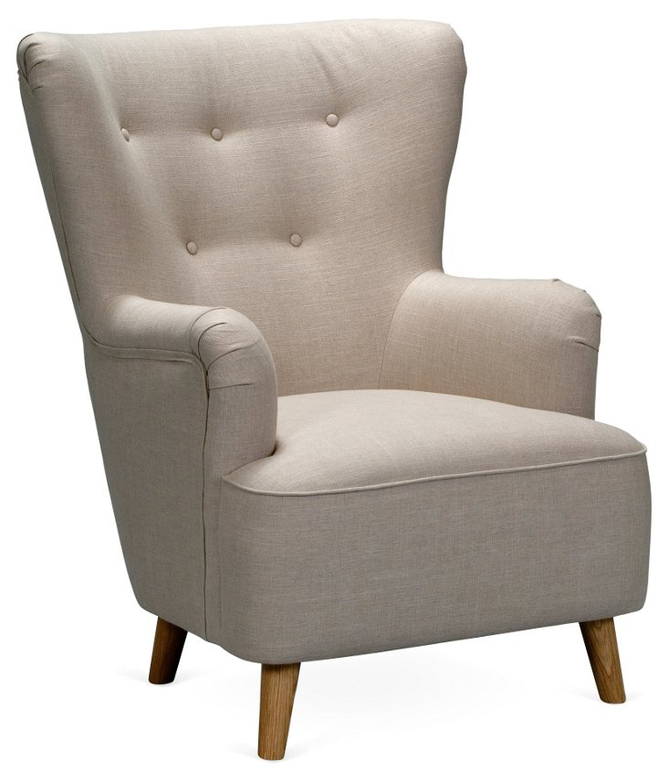 BB King Button-Tufted Chair, Beige
