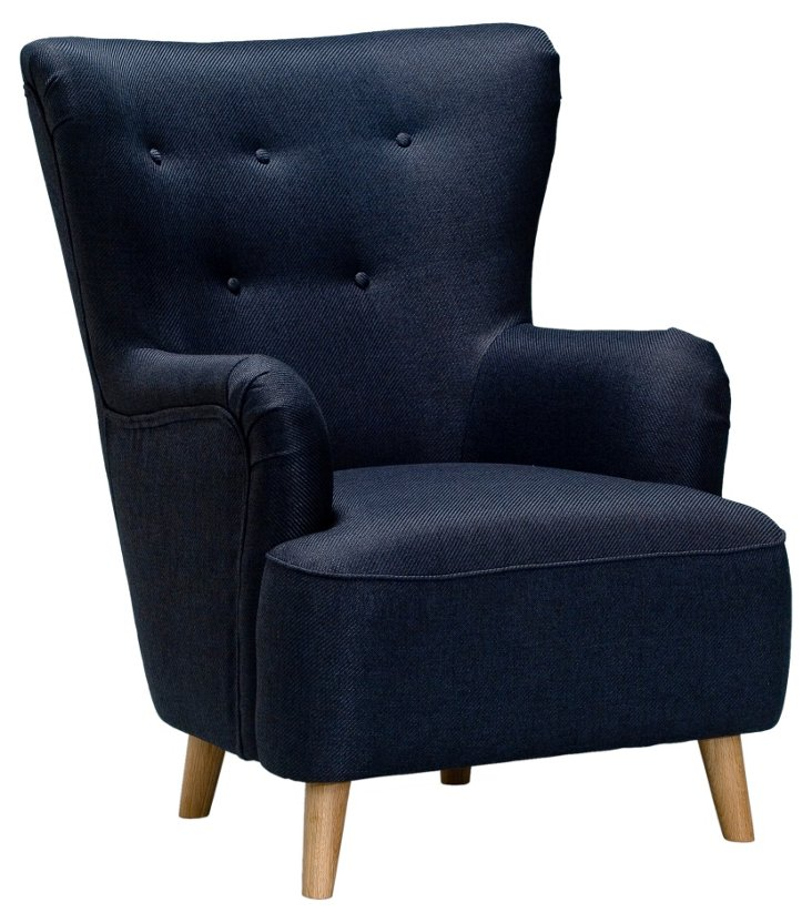 BB King Button-Tufted Chair, Anthracite
