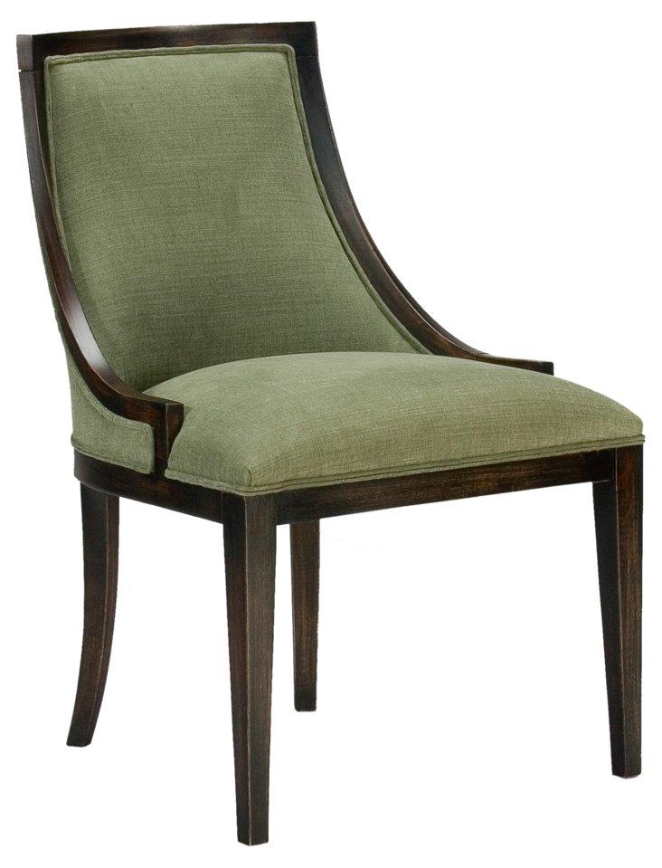 McKennah Linen Slipper Chair, Sage