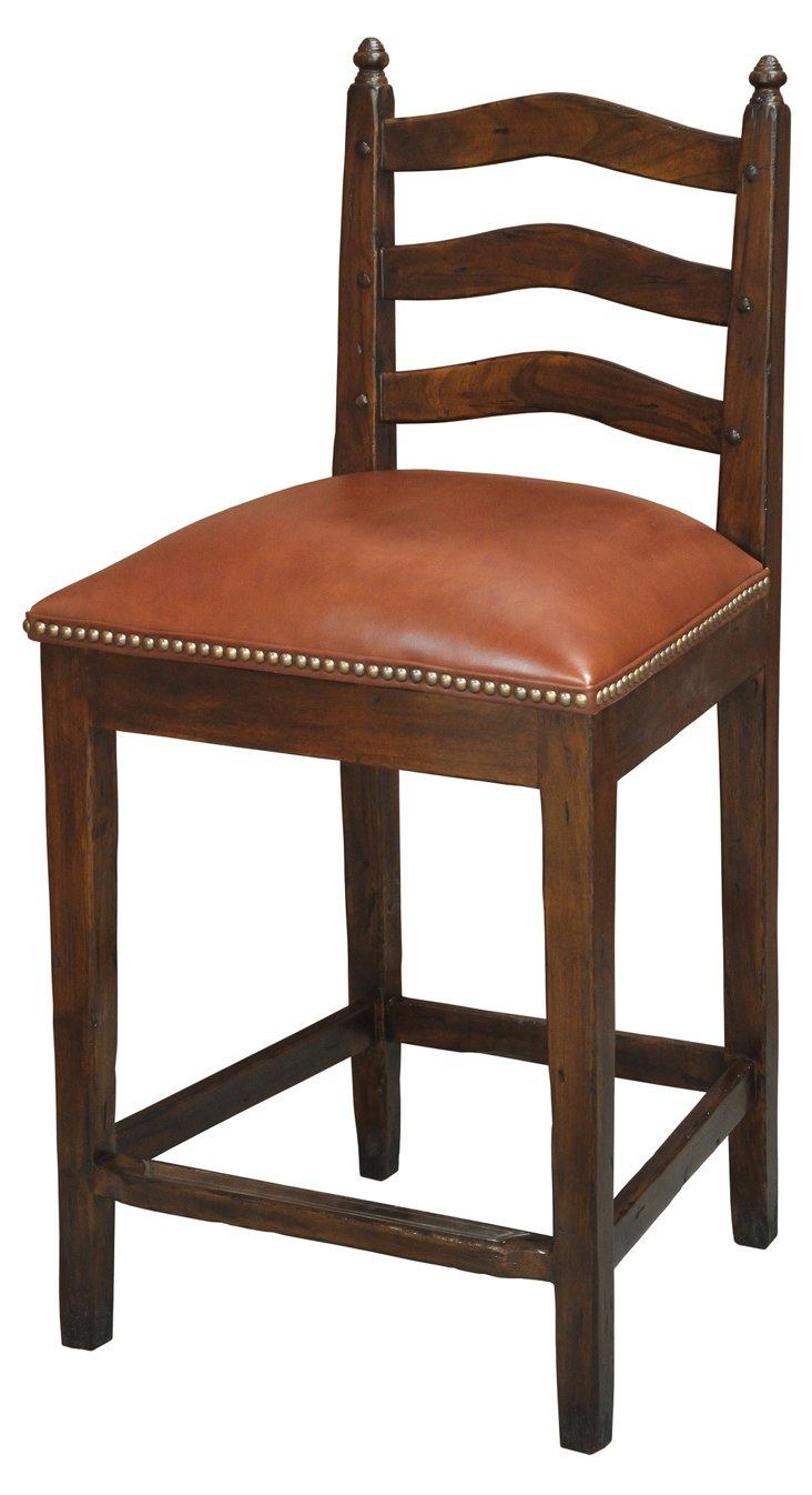 Caroline Leather Counter Stools, Pair