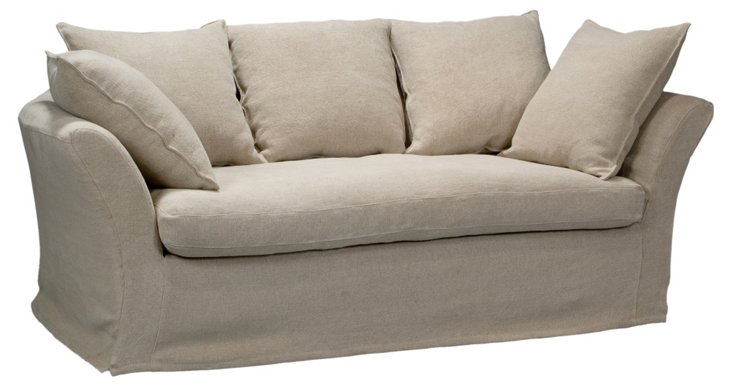 """Bel Air 76"""" Linen Sofa, Wheat"""