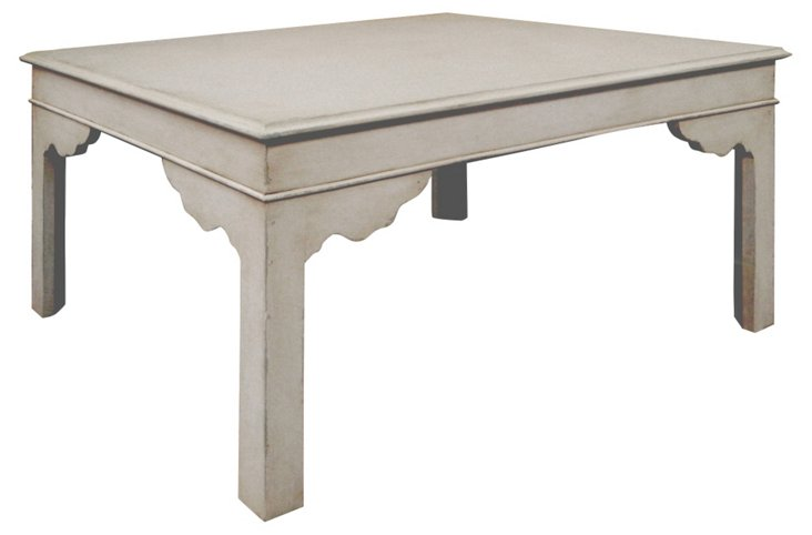 """Leo 41"""" Coffee Table, Antiqued Ivory"""
