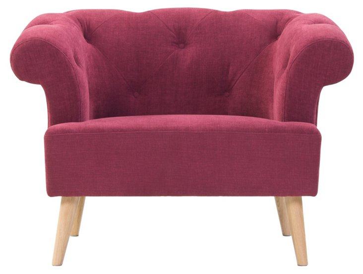 Blythe Roll-Arm Tufted Chair, Primrose