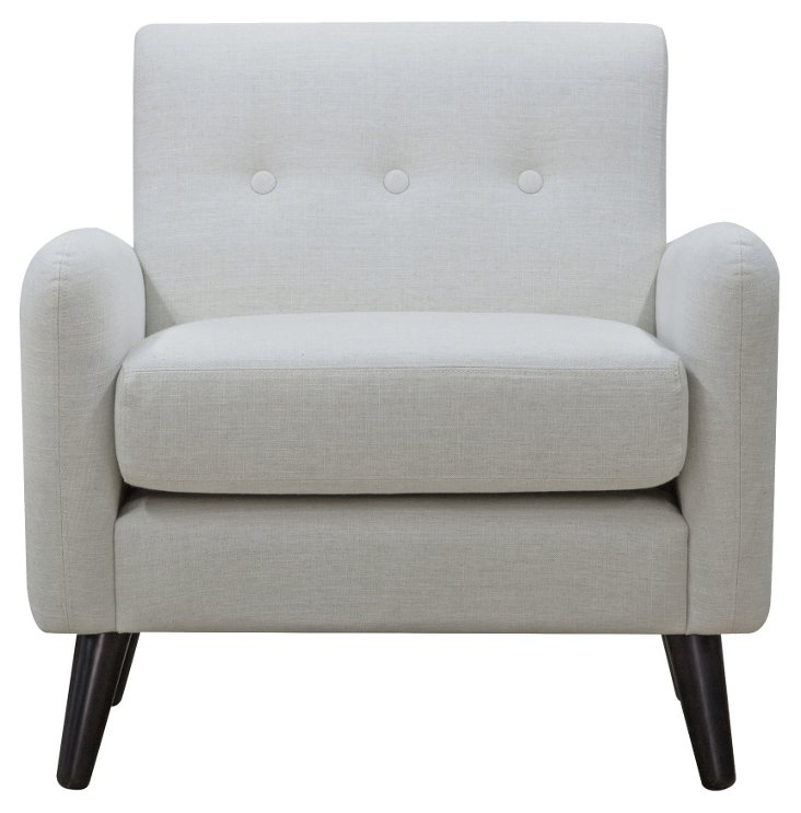 Addison Button-Tufted Club Chair, Ivory
