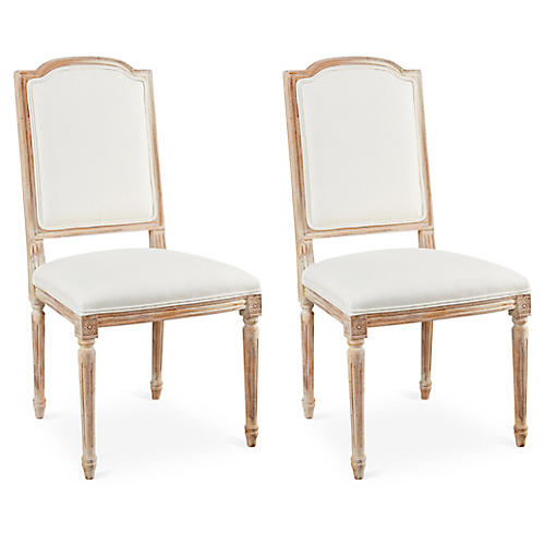 S/2 Aida Side Chairs, Ivory Linen