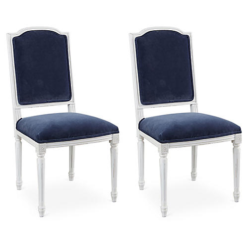 Navy Velvet Louis Side Chairs, Pair